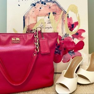 Coach: Madison East/West Tote-Pink/Gold